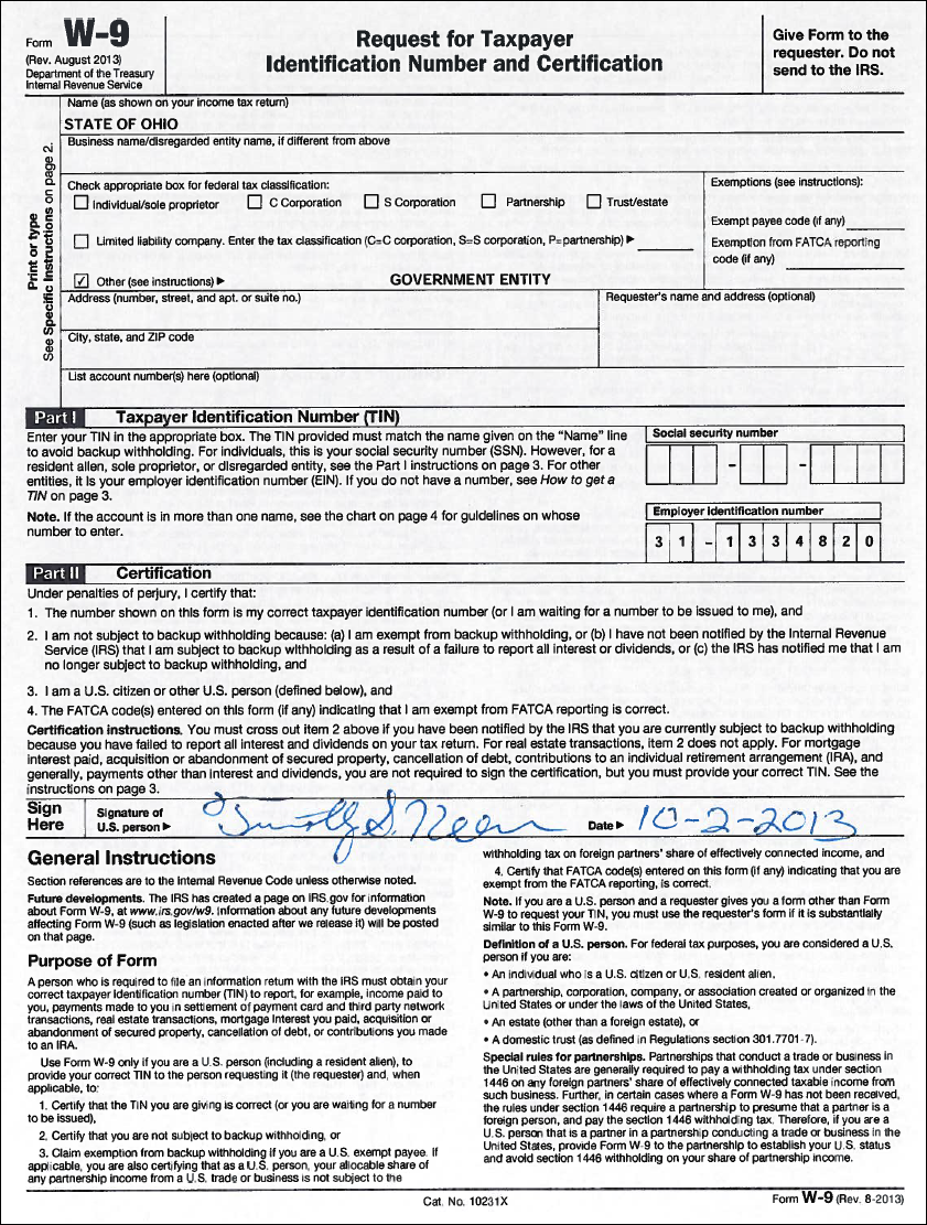 SO) State of Ohio W-9 Form