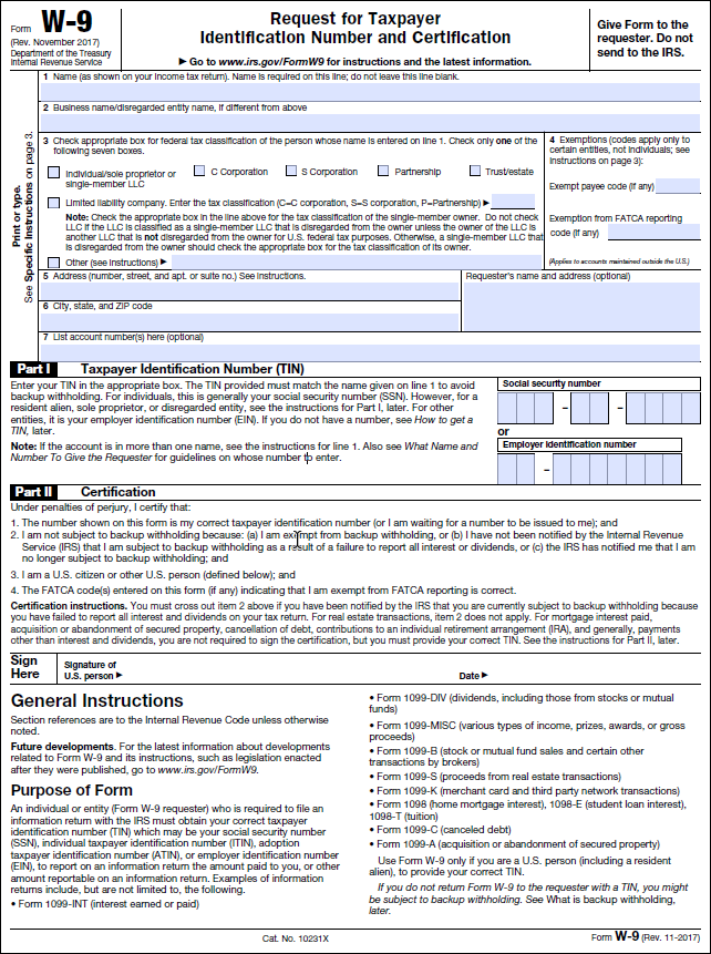 SO) IRS Form W-9