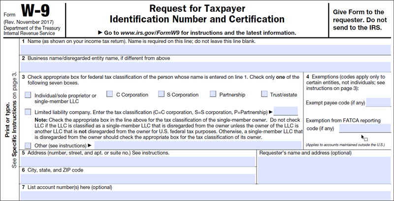 So Irs Form W 9